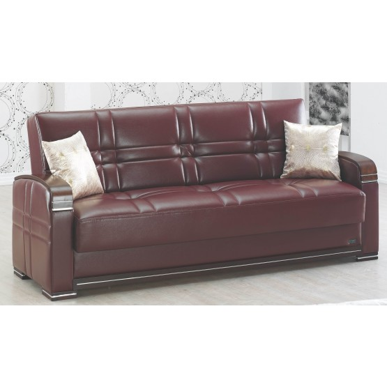 Manhattan Bonded Leather/Wood Storage Sofabed photo
