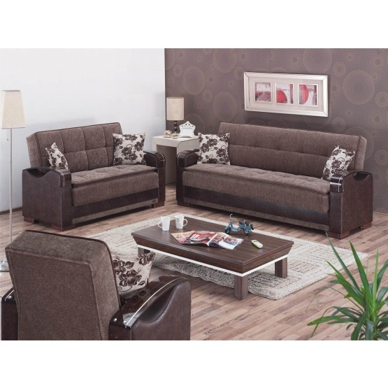 Hartford Fabric/Vinyl/Wood Storage Living Room Set photo
