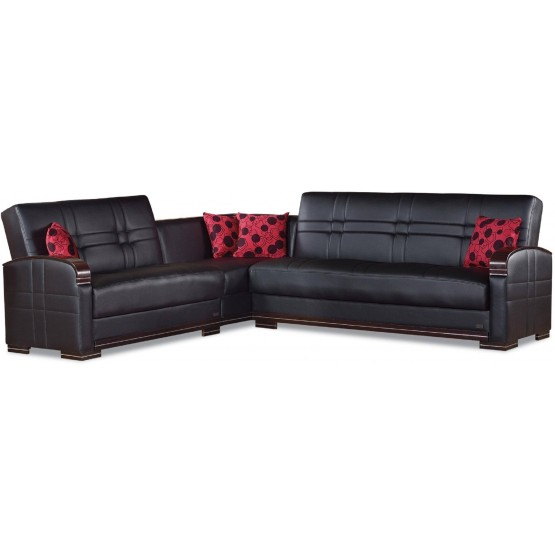 Bronx Bonded Leather/Wood Sectional photo