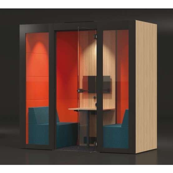 M Medium Meeting Soundproof Acoustic Office Pod with Melamine Walls, Glass Door photo