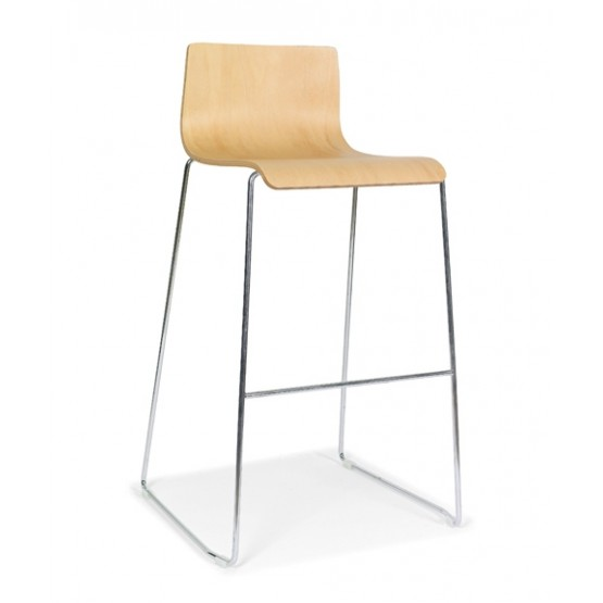Moon Wood High Chair, Wire Steel Frame photo