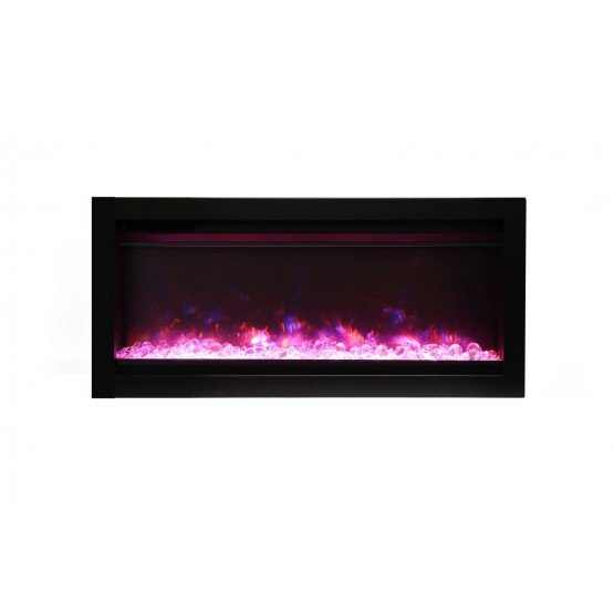 Wall mount B Built-in Electric Fireplace with Glass & Black Steel Surround photo