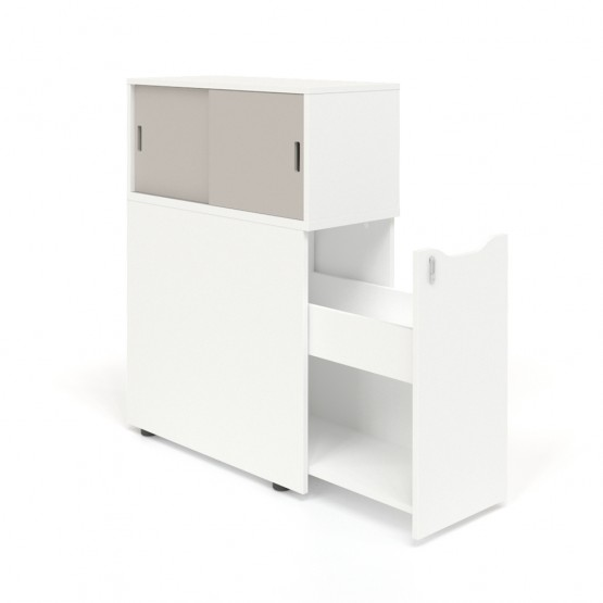 Boxi Office Storage Lockable Tower w/Sliding Doors Top Bookcase photo