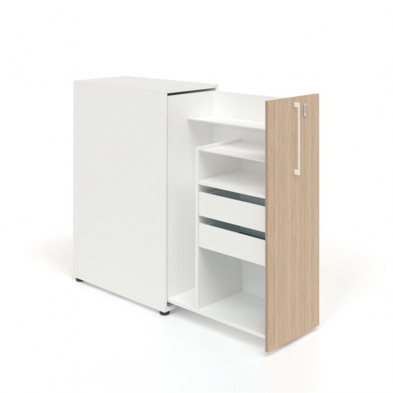 Boxi Office Storage Lockable Tower w/2 Shelves & Drawers photo