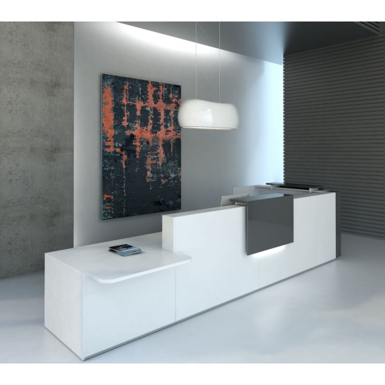 TERA L-Shaped Reception Desk w/Counter Top & Light Panels, ADA Compilance photo