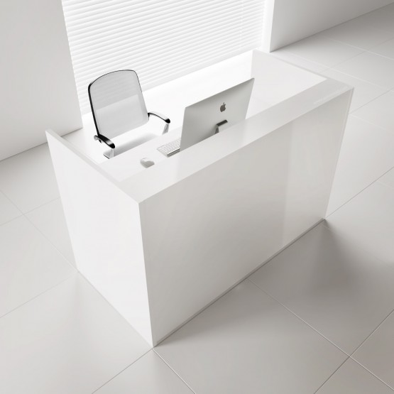 TERA Medium Reception Desk, White Pastel photo
