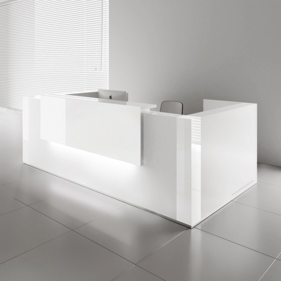 TERA U-Shape Large Reception Desk w/2 Light Panels, White Pastel photo