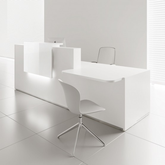 TERA Right Countertop Large Reception Desk w/Light Panel, White Pastel photo