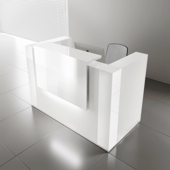 TERA Medium Reception Desk w/Light Panel + Corner Units, White Pastel photo
