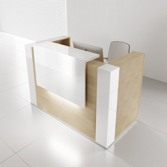 TERA Medium Reception Desk w/Light Panel + Corner Units, Canadian Oak photo