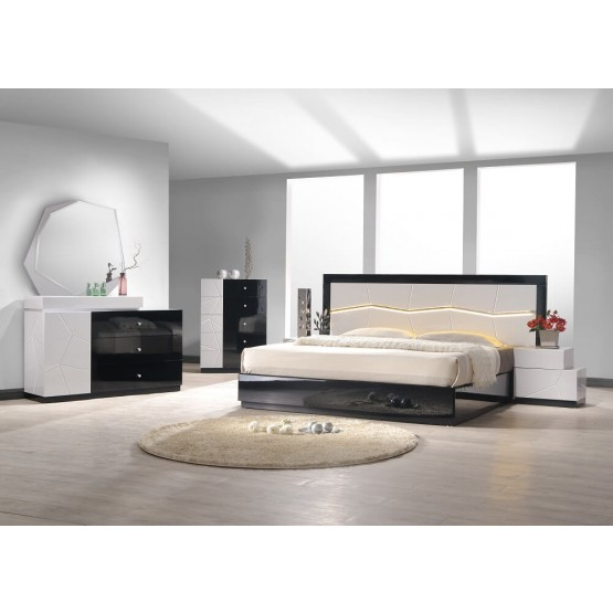 Turin Modern Lacquer LED Panel Bedroom Set photo