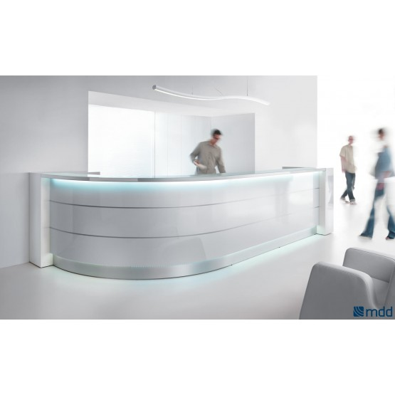VALDE Curved Reception Desk, High Gloss White photo