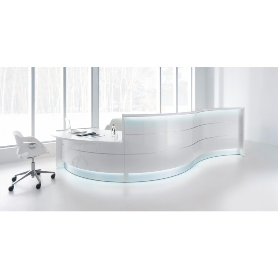 VALDE Countertop Curved Reception Desk, High Gloss White photo