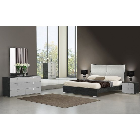 Vera Modern Ecoleather Panel Bedroom Set photo