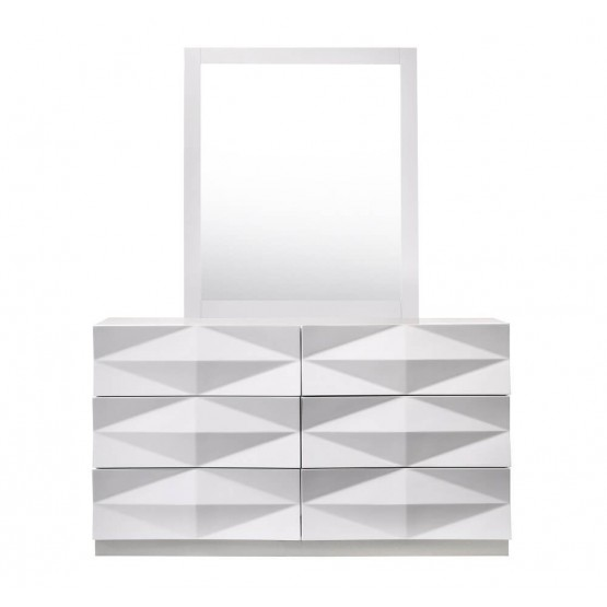Verona Modern Lacquer 3D Dresser with Mirror photo