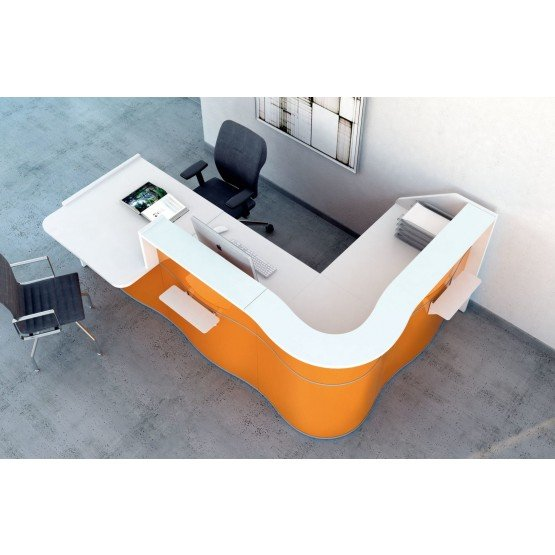 WAVE L Shaped Reception Desk w/Counter Top photo