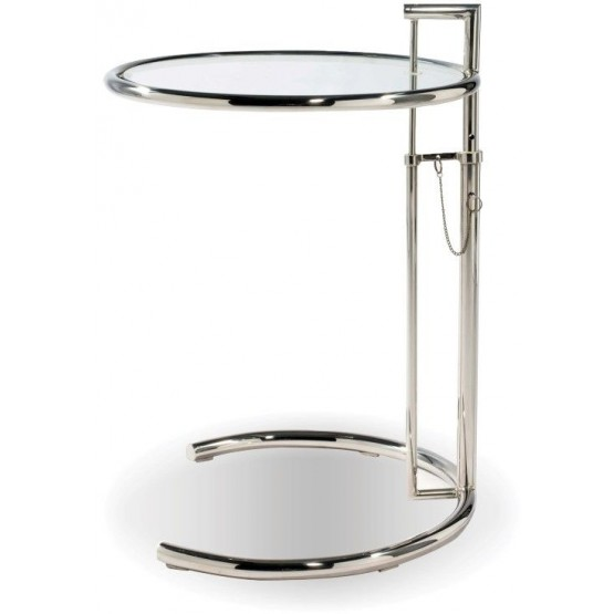 Angel Chrome Glass Round Adjustable Height End Table, Set of 4 photo