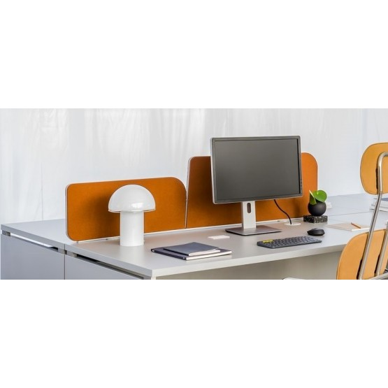 Twin Acoustic Fabric Screen for Desk Bench photo