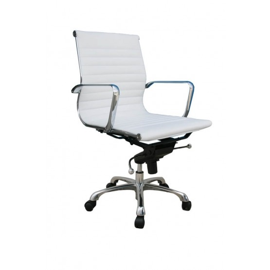 Comfy Low Back Adjustable Leather Swivel Office Chair photo