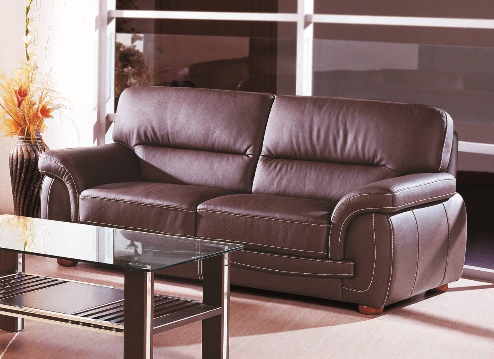 ✅ Sienna Top Grain Leather Match Sofa, Brown by Beverly Hills ...