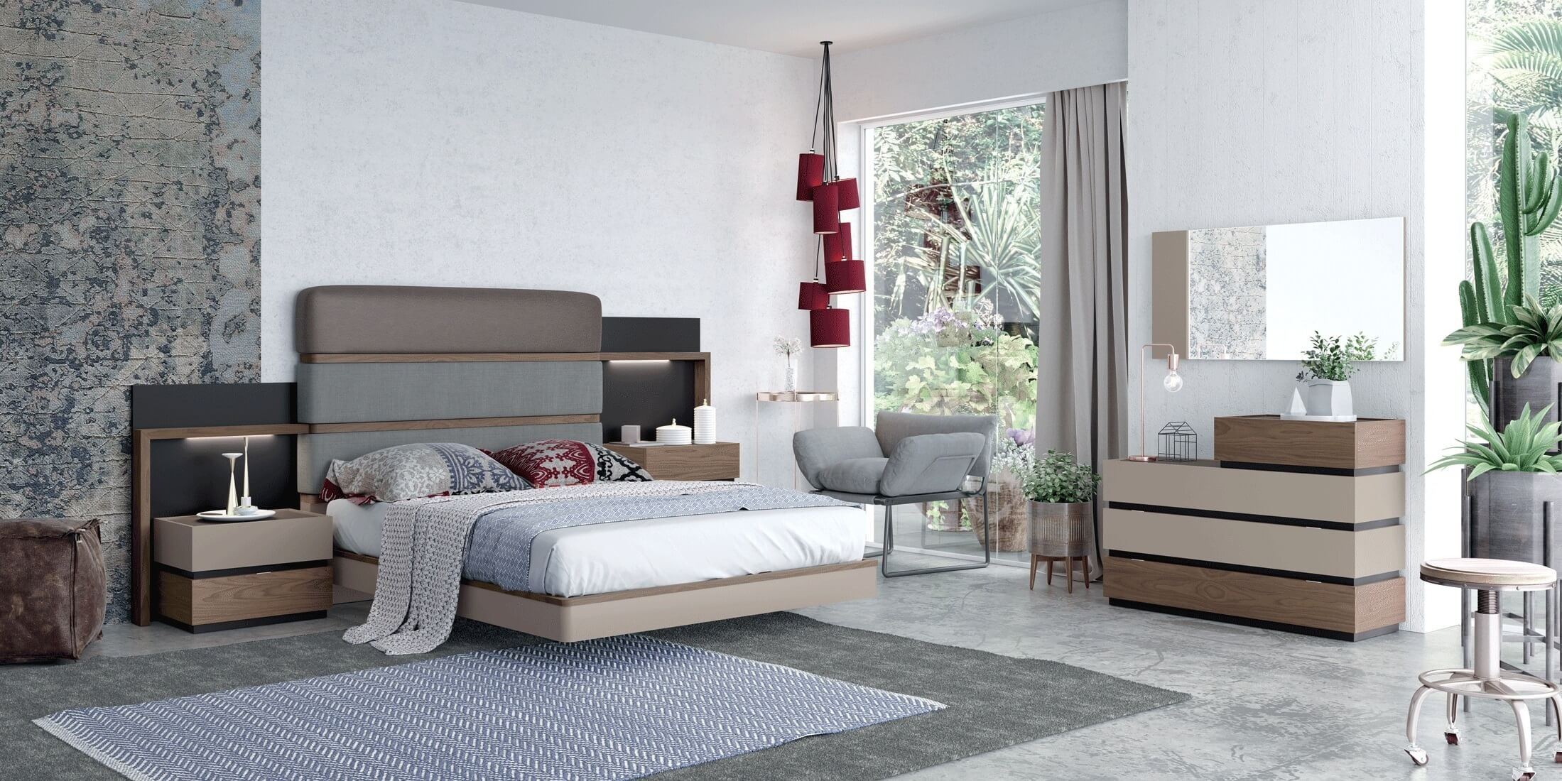 Leo Eco Leather Fabric Platform Bedroom Set Brown Grey By Esf Furniture Sohomod Com,Colours That Go With Purple In A Bedroom