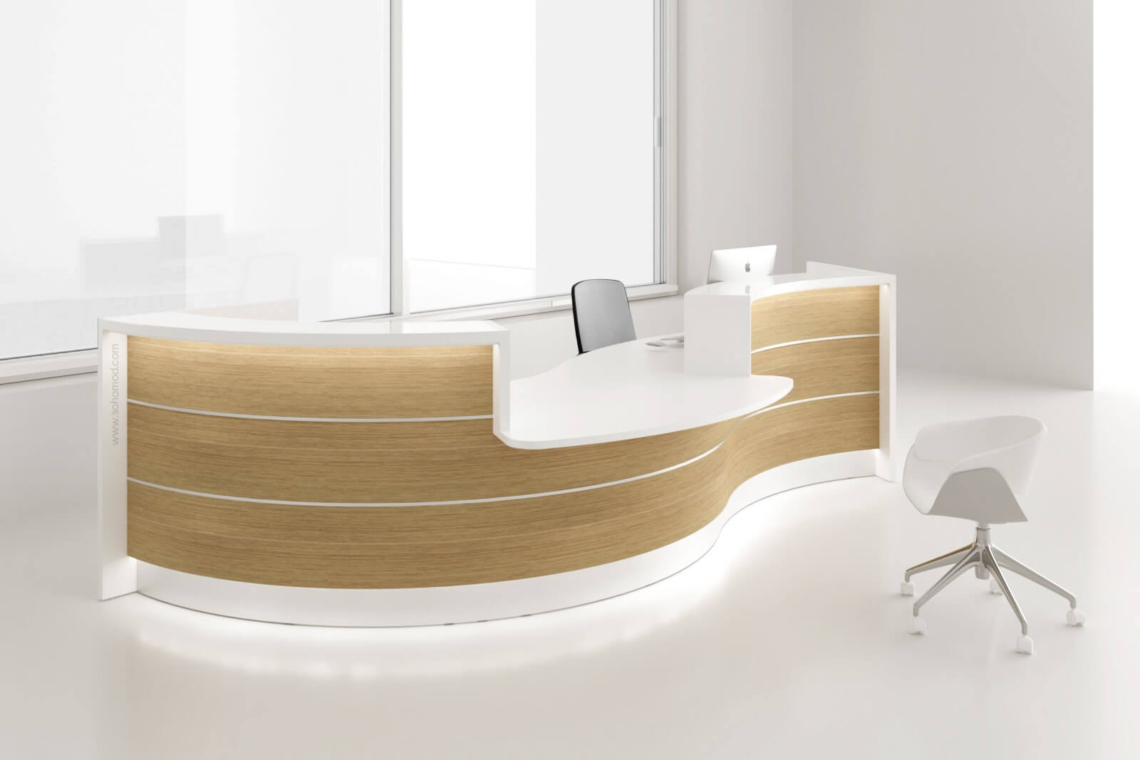 Valde Curved Reception Desk W Counter Top By Mdd Office