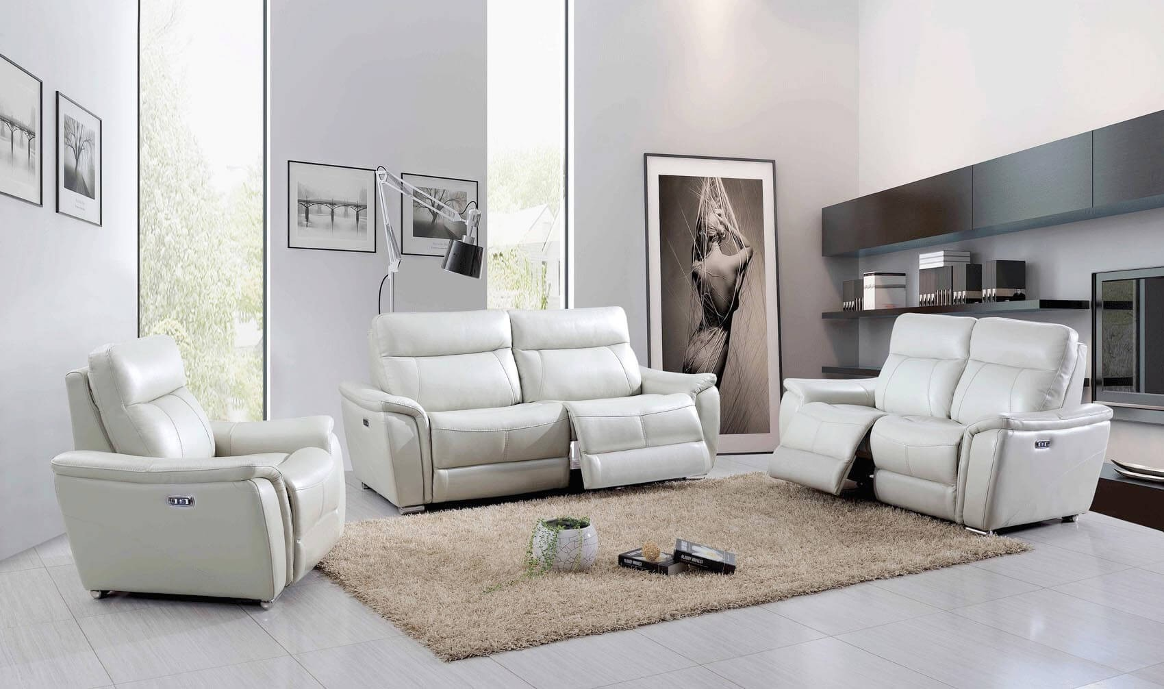 Tremendous 1705 Leather Eco Leather Living Room Set W Recliner Home Interior And Landscaping Spoatsignezvosmurscom