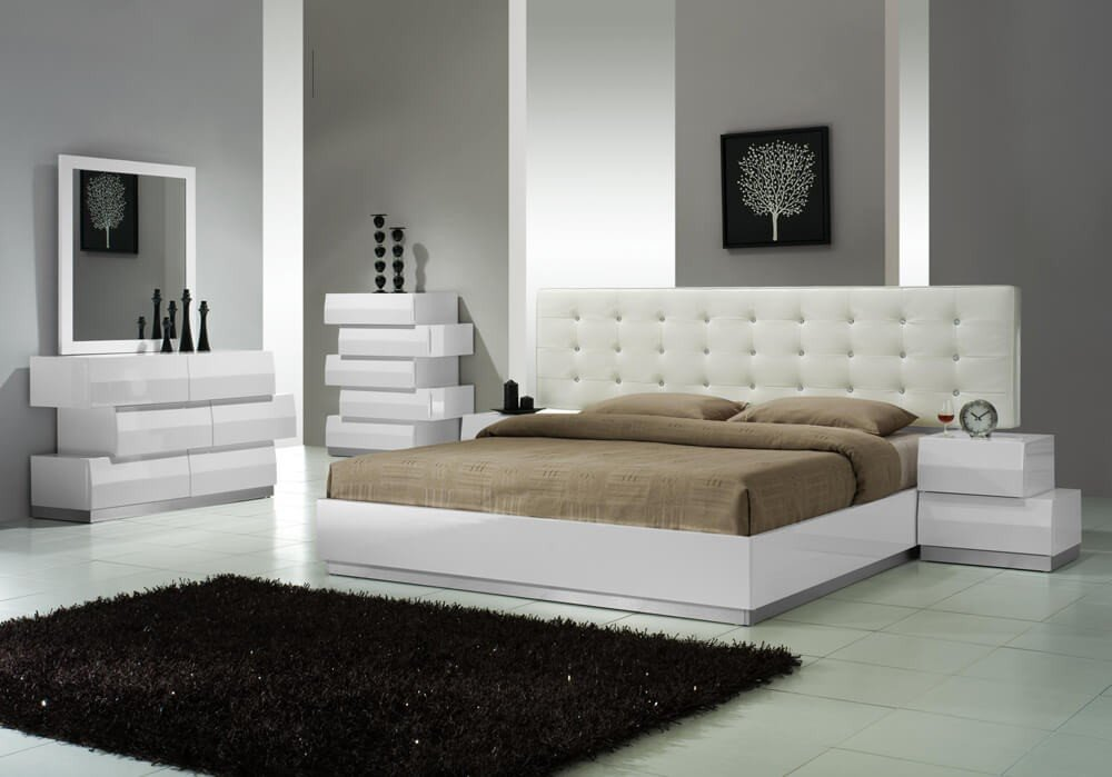 Merveilleux ✅ Milan Modern Leatherette Platform Bedroom Set, White Lacquer By Ju0026M  Furniture | Sohomod.com
