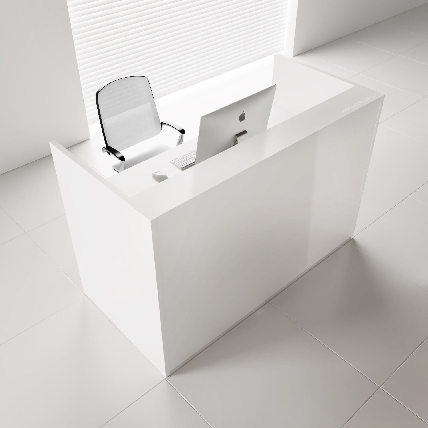 Tera Medium Reception Desk White Pastel Sohomod Com
