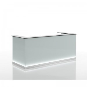"Crystal 70"" Glass Straight Reception Desk with Light"