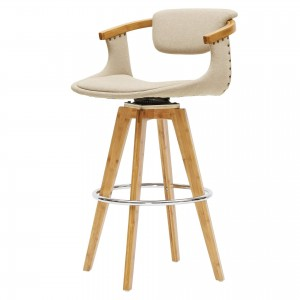 Darwin KD Fabric/Bamboo/Wood Bar Stool