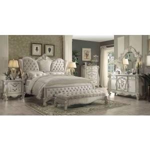 Versailles Wood/Velvet Tufted Panel Bedroom Set