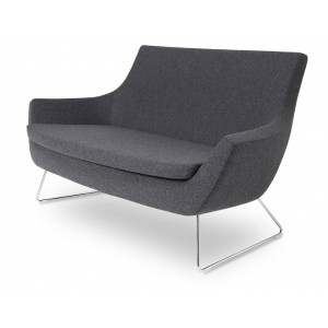 Rebecca Wire Sled Two Seater, Dark Grey Camira Wool by SohoConcept Furniture