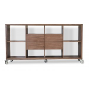 Malta Bookcase With Drawers With Caster, Walnut