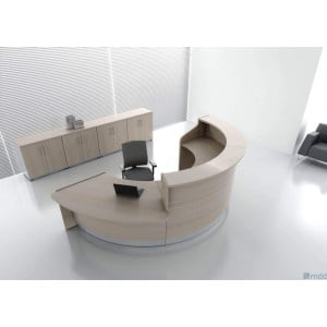 VALDE Countertop Round Reception Desk, All Canadian Oak by MDD Office Furniture