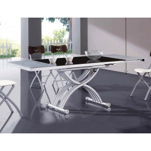2109 Modern RectangularGlass Extendable Dining Table by ESF Furniture