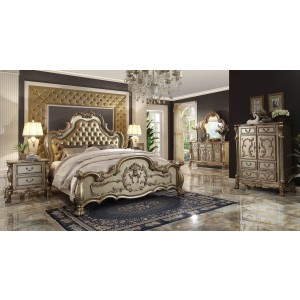 Dresden Wood/PU Tufted Panel Bedroom Set