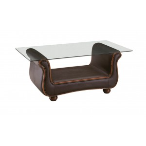 262 Glass/Leather Coffee Table by ESF Furniture
