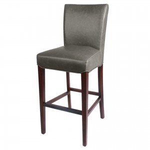 Milton Bonded Leather/Wood Bar Stool