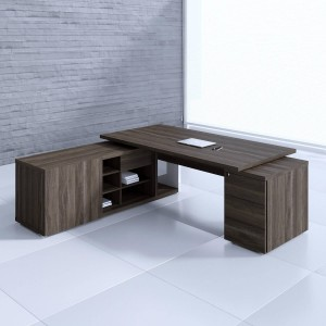 Mito Executive Desk w/Managerial Side Storage + Pedestal