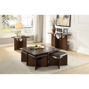 Akita Glass/Wood Veneer Occasional Table Set by Homelegance