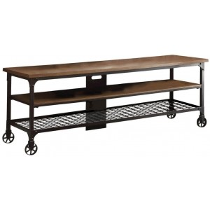 Millwood Wood Veneer/Metal TV Stand
