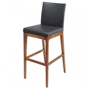 Devon PU Counter Stool, Walnut Legs, Antique Grey by NPD (New Pacific Direct)