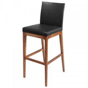 Devon Fabric Counter Stool, Walnut Legs, Night Shade by NPD (New Pacific Direct)