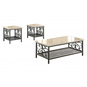 Fairhope Metal Occasional Table Set (Coffee Table + 2 End Tables) by Homelegance