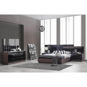 Napoli Wood Platform Bedroom Set w/LED Light