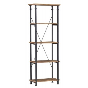 Factory Industrial Wood Bookcase by Homelegance