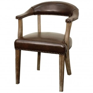 Bernadette Bonded Leather Chair, Drift Wood Legs, Vintage Coffee by NPD (New Pacific Direct)
