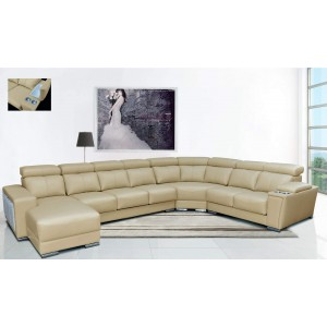 8312 Leather/Eco-Leather Sectional w/Sliding Seats by ESF Furniture