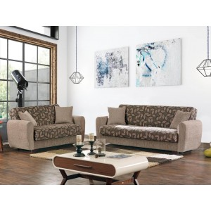Chestnut Fabric Storage Living Room Set